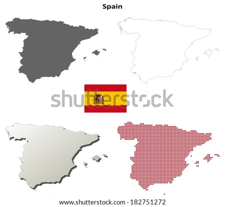 Blank outline maps of Spain - vector version - stock vector