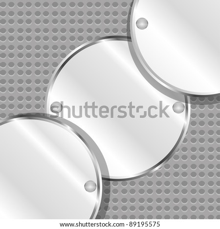 blank oval metal plate with space for text. vector - stock vector