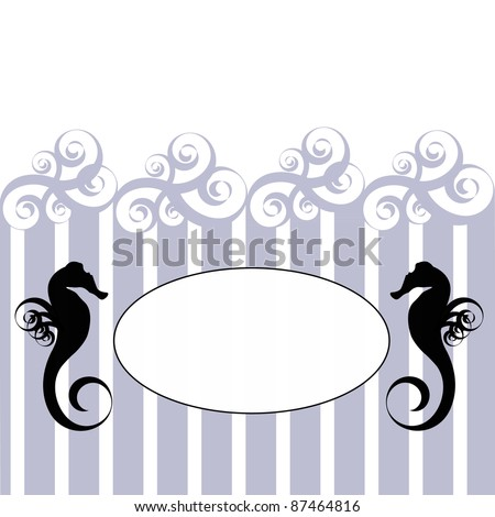 Blank oval on the blue and white stripes decorated by two sea horses and blue swirls