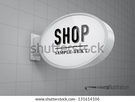 Blank, oval shop sign hanging on a wall - stock vector