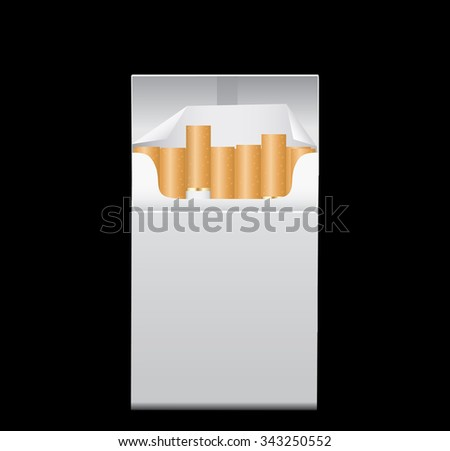 Blank Pack Package Box of Cigarettes  - stock vector