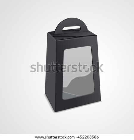 blank package box with plastic window isolated on white background. 3D illustration. - stock vector