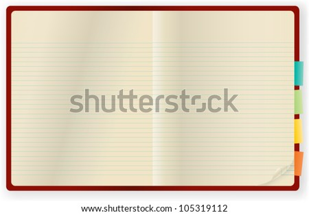 Blank page open notebook with wrapped corner. Vector illustration
