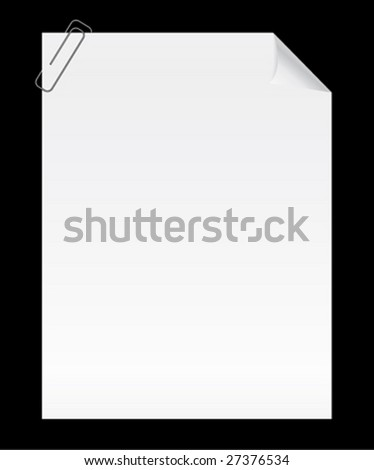 Blank page with curled corner and clip. Vector.