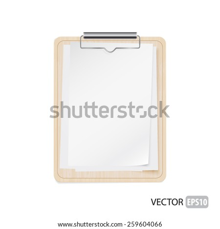Blank pages on the wooden plate vector. - stock vector