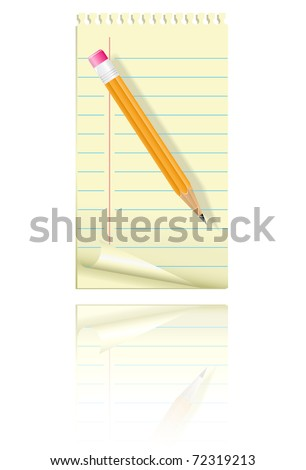 Blank paper and pencil. Vector illustration. - stock vector