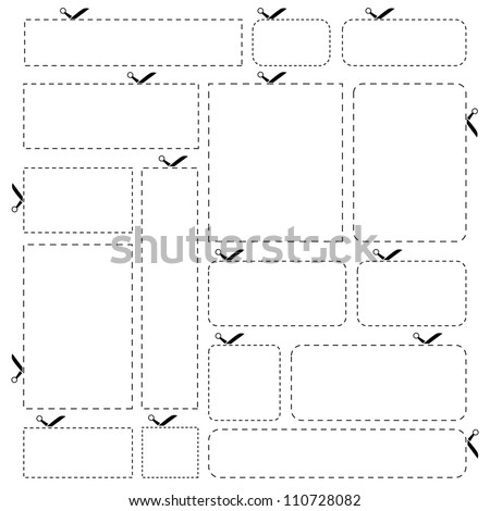 Blank paper banners isolated on white background. This vector illustration of scissors cut stickers is fully editable. - stock vector