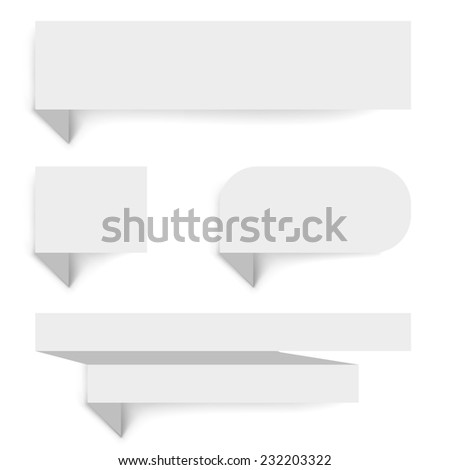 Blank paper banners with shadow template isolated on white background. - stock vector