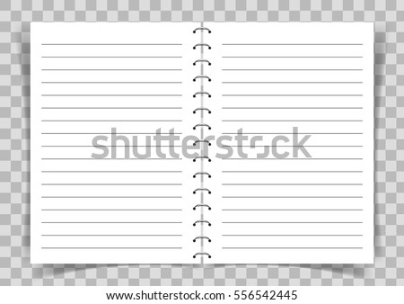 Blank Paper Book With Lines For Writing Connected With Spiral On  Transparent Vector Background.