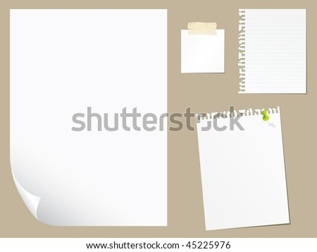Blank paper collection - stock vector