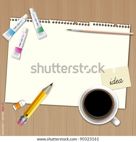 Blank paper for paint with coffee on wood background - stock vector