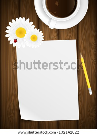 Blank paper on wooden background with flowers and ladybird. Vector illustration. - stock vector