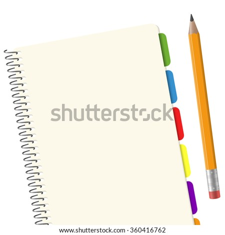 blank paper pad with copy space and yellow pencil - stock vector