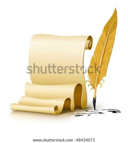 blank paper script with old ink feather pen vector illustration, isolated on white background. Gradient mesh used for shadow drawing. - stock vector