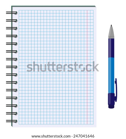 Blank paper sheet in cage with pen isolated on white background - stock vector