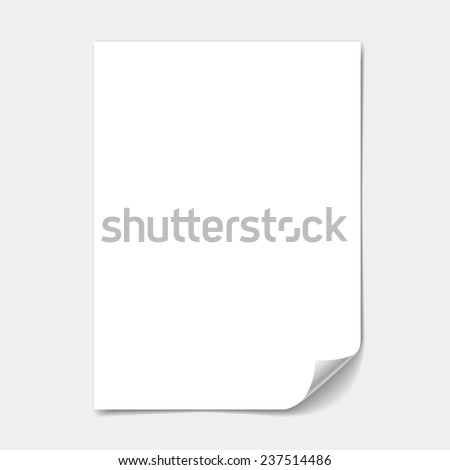 blank paper sheet with  page curl - stock vector