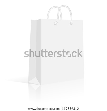Blank paper shopping bag with rope handles. Vector, isolated - stock vector