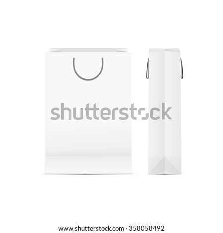 blank paper shopping bag with soft shadow isolated on white background