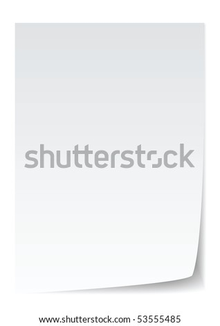 blank paper with page curl, realistic looking. - stock vector