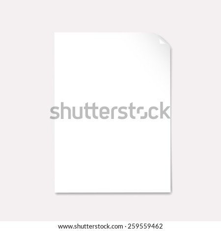 blank paper with page curl   vector - stock vector