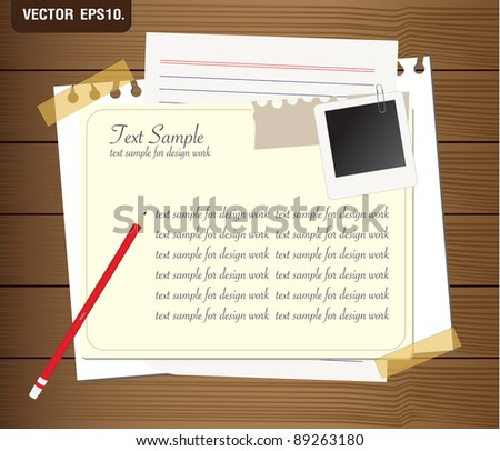 blank paper with photo frame on wooden background. Vector template for design work - stock vector
