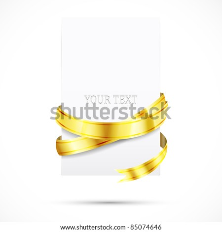 blank paper with shine gold ribbon - stock vector