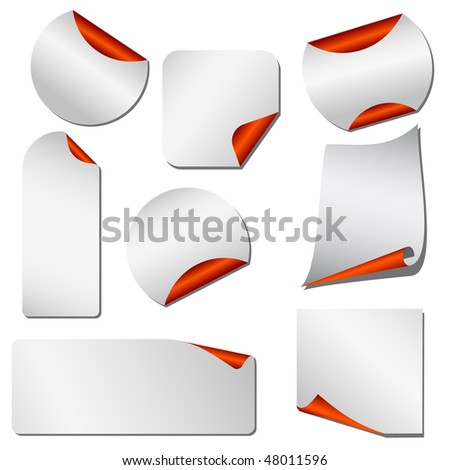 Blank papers and stickers with red margin isolated on white vector