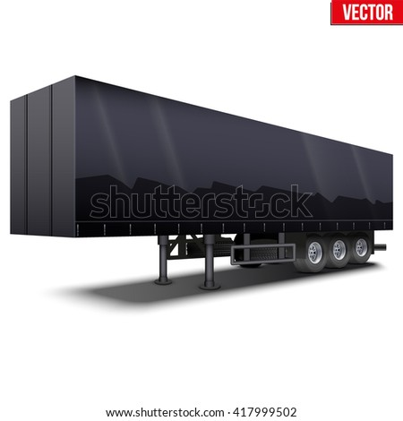 Blank parked black semi trailer with canvas cover. Perspective side view. Vector Illustration Isolated on white background - stock vector