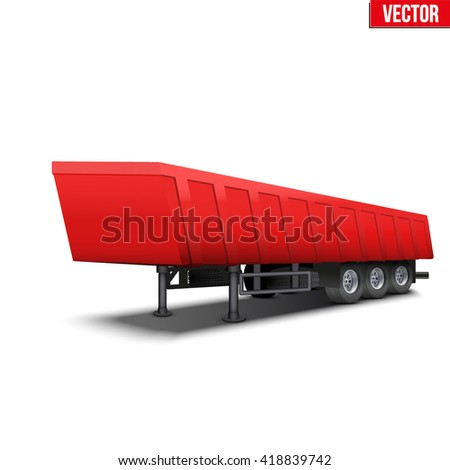 Blank parked red tipper semi trailer with canvas cover. Perspective side view. Vector Illustration Isolated on white background - stock vector