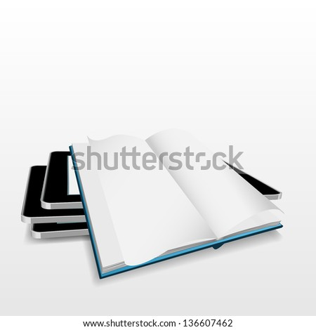 blank PC tablet computer with book open on the white.EPS10 - stock vector
