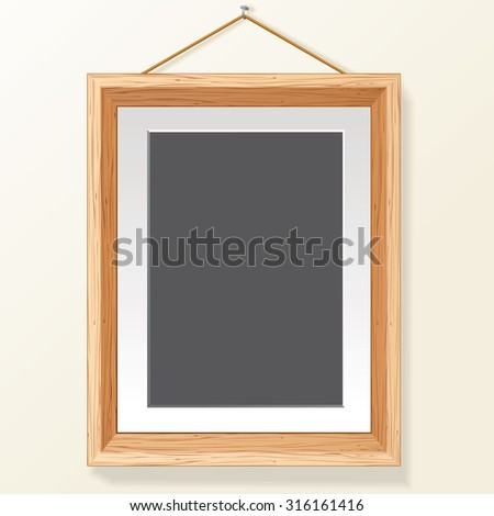 Blank Photo Frame on Wall. Ready for Your Text and Design. - stock vector