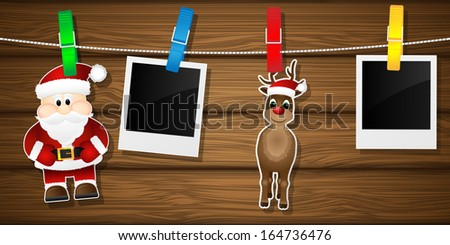 Blank photo frames, reindeer and Santa Claus on a clothesline. Vector illustration. - stock vector