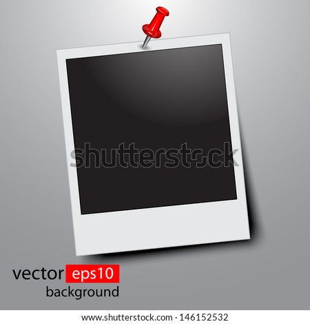 blank photo pinned on wall - stock vector