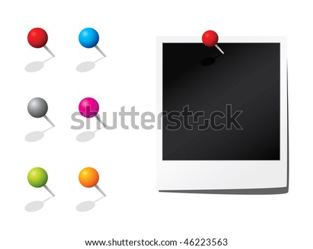 Blank photograph and pins - stock vector