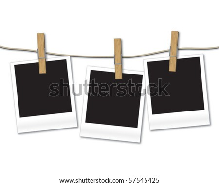 Blank photos hanging on rope - stock vector