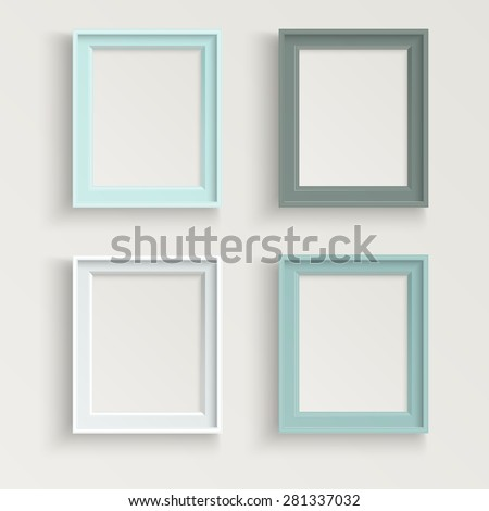 Blank picture frame template different color set isolated on wall - stock vector