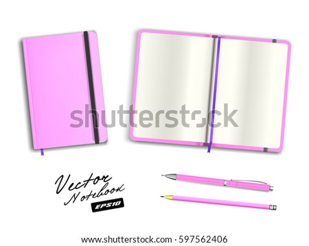 Blank Purple Open Closed Copybook Template Stock Vector