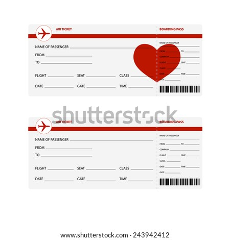 Blank plane tickets for romantic trip isolated on white background. Vector illustration - stock vector