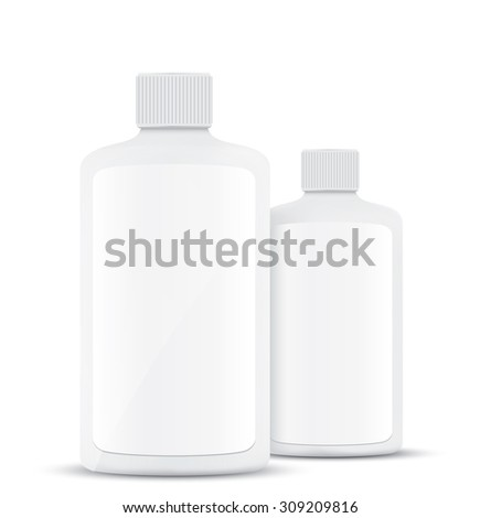 Blank plastic bottles isolated on white background - stock vector
