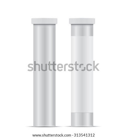 Blank Plastic Packaging Bottle with Cap for Pills Isolated on White Background - stock vector