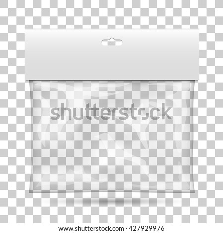 Blank plastic pocket bag, Packaging with a transparent background, Vector illustration - stock vector