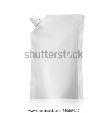 Blank plastic spouted pouch template for puree, beverage, cosmetics.  Packaging collection. Vector illustration. - stock vector