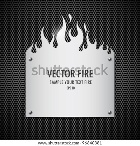 Blank plate stainless steel fire flames style background, vector illustration - stock vector