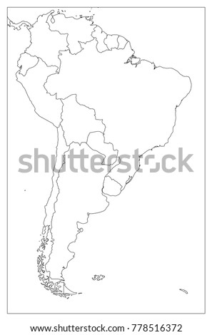 Blank Political Map South America Simple Stock Vector (Royalty Free ...