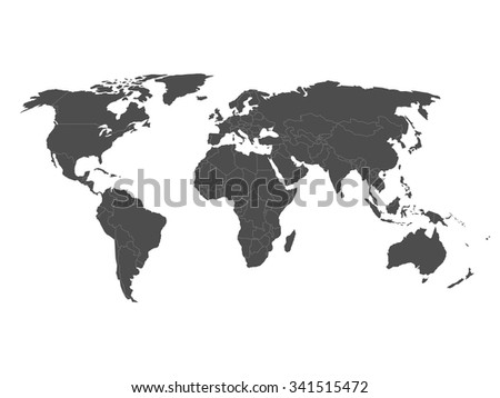 Blank political world map in grey with white borders. Vector illustration.