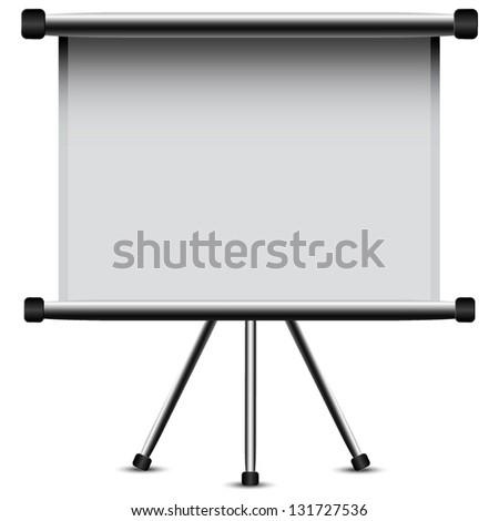 Blank portable projector screen - stock vector