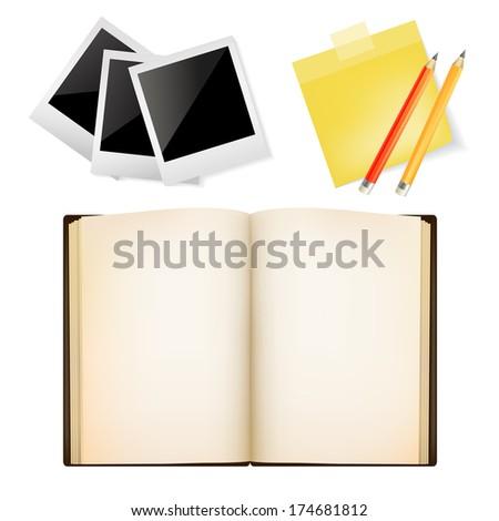 blank post, Polaroid photo frames, Open book, pencil, Vector set of office items. - stock vector