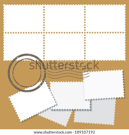 Blank postage mark in white color with stamps isolated on beige background. vector illustration  - stock vector