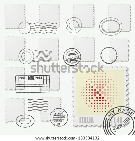 blank postage stamp irregular frames with postmarks - stock vector
