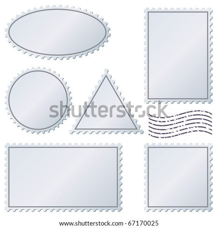 Blank postage stamps vector set isolated on white. - stock vector